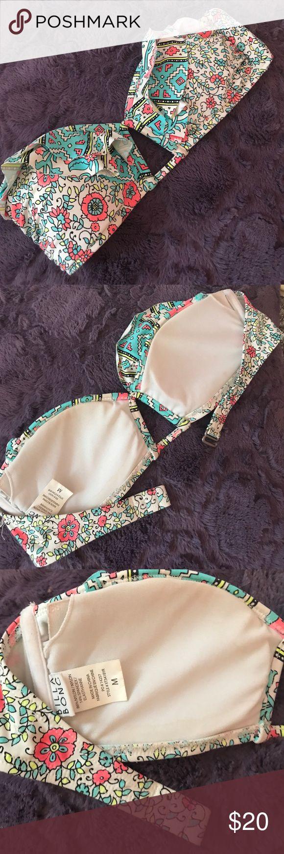 Billabong Strapless Bikini Top Neon bikini top with floral and aztec print. In perfect condition. Size Medium, worn a few times. Billabong Swim Bikinis