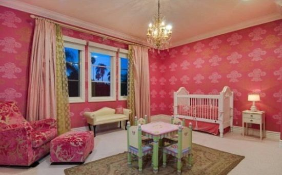 """Tori Spelling told Life & Style Magazine baby Stella's nursery was inspired by """"vintage boudoir Parisian girlie chic."""" Serena & Lily's Harper bedding, Monte Design Luca Glider , ottoman , and Cape Cod Roses White Crib made for a nursery fit for a reality TV starlet.: Nurseries Decor, Girls Generation, Home For Sales, Celebrity Nurseries, Little Girls Rooms, Daughters, Tory Spelling, Girls Nurseries, Baby Nurseries"""