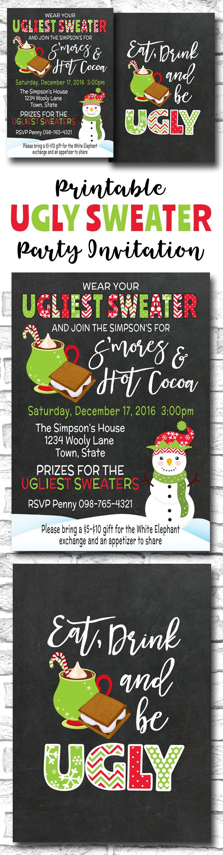 Ugly Sweater Christmas Party Invitation, Smores And Hot Cocoa Holiday Party, Eat Drink And Be Ugly, PRINTABLE Ugly Sweater Invite