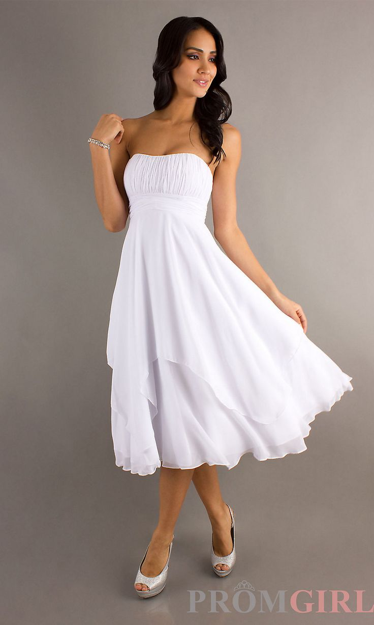 White, Short, Casual Wedding dress. Could I have this, but with shoulder straps and a v-neck?