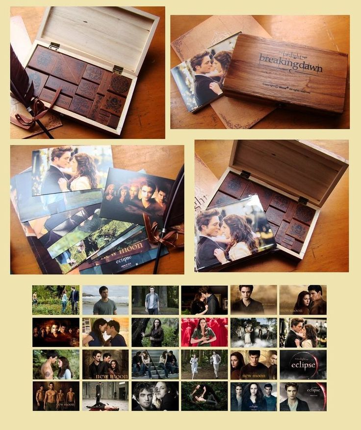 Twilight wooden box with stamps and postcards