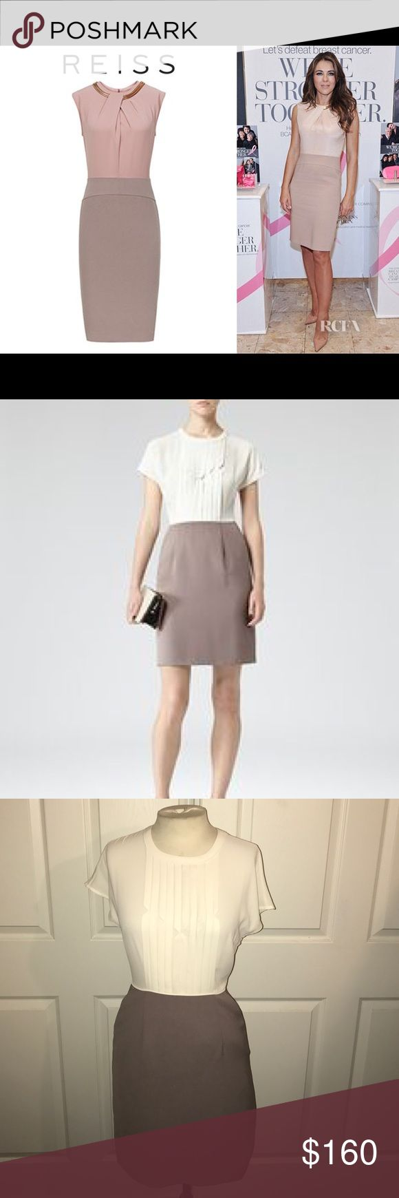 Reiss Two Toned Dress with side pockets Never worn. Reiss beige and taupe dress with side pockets and keyhole back with zipper. This is one of the softest feeling dresses you'll ever wear. Classy look as seen on Princess Kate and Elizabeth Hurley. Reiss Dresses Midi