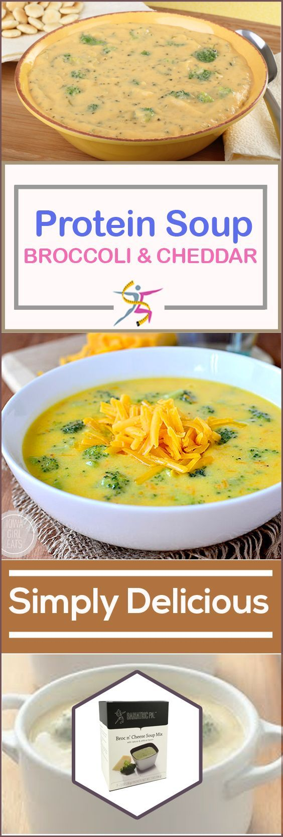 BariatricPal Protein Soup - Broccoli and CheddarBariatricPal Protein Soup is your mealtime solution. Just add water and enjoy your instant high-protein soup. BariatricPal Protein Soup – Broccoli and Cheddar is a creamy comfort food without the extra fat and calories. Each bowl has only 100 calories and almost no fat! It has a cheesy flavor and real broccoli, along with 15 grams of protein. It can make you feel better pre-op and post-op while giving you the protein you need. 7 packets per box