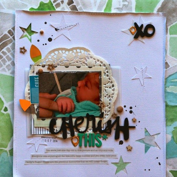 'Cherish This' by Kayla Macaulay, using Polly! Scrap Kits March 2014 Spearmint Leaves scrapbooking kit (with bonus video!)