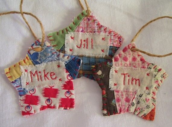 PERSONALIZED Star Starz Ornament - Stitched From Recycled Vintage Quilt Piece