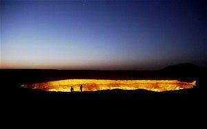 """""""Door to Hell,"""" Derweze, Turkmenistan located in Turkmenistan' Karakum Desert, the eerie cavern has been on fire for more than 40 years."""