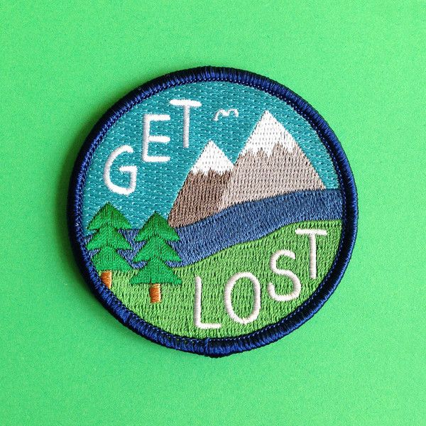Get Lost Embroidered Patch, Funny Iron On Patch, Explore Patch,... ($8.95) ❤ liked on Polyvore featuring patch
