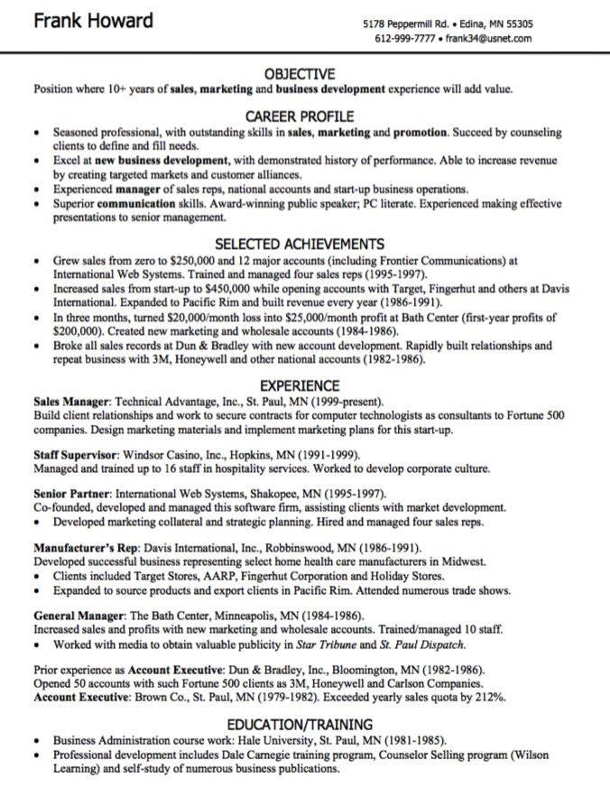 resume for sales and marketing