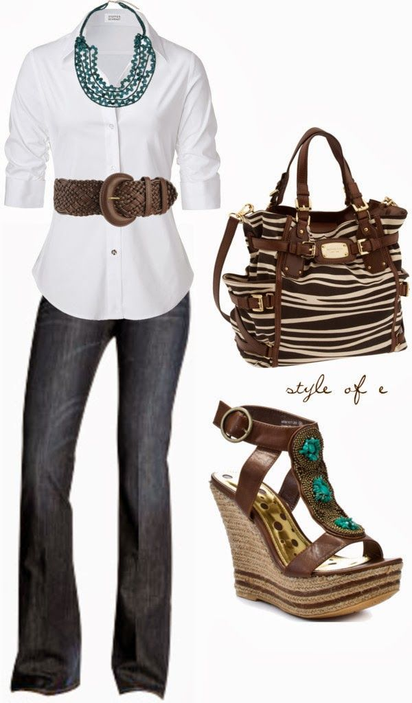 Get Inspired by Fashion: Work Outfits | Brown and Teal Casual