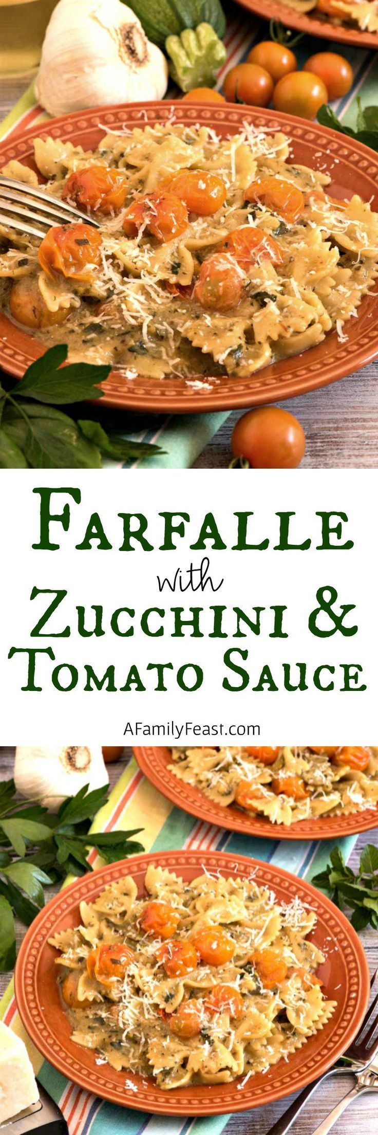 Farfalle with Zucchini and Sun Gold Tomato Sauce | garden vegetables | best tomato recipes | best zucchini recipes