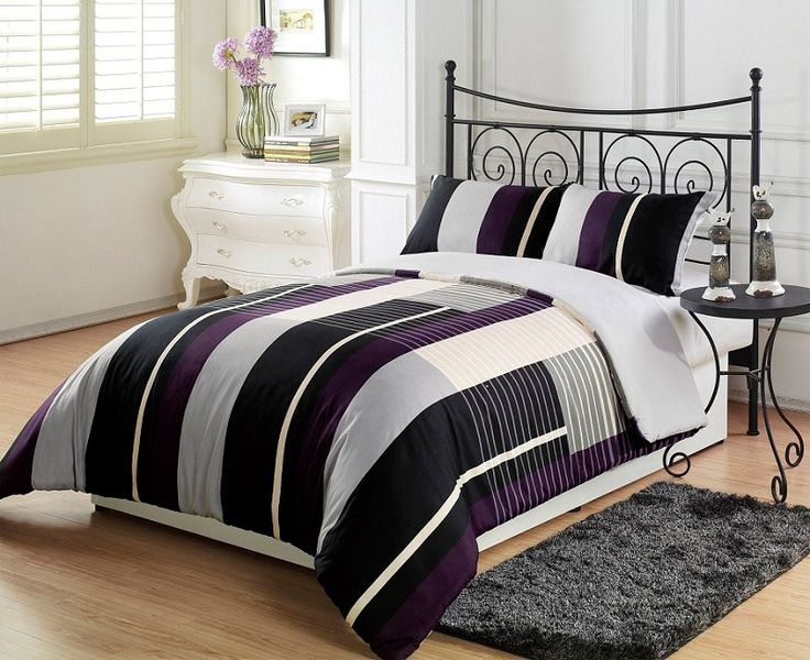 2pcs New York City Purple Black Grey Stripe (Reversible) Comforter Set TWIN  Size