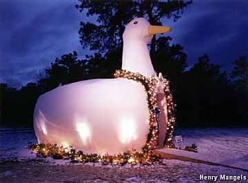 """In 1931, Riverhead duck farmer Martin Maurer built this 20-ft. tall, 30-ft. long eye-catcher using concrete (technically, """"ferrocement"""") applied over a wooden frame. Taillights from a Model T Ford became its eyes, glowing red at night. Maurer sold ducks and eggs from the shop in its belly."""