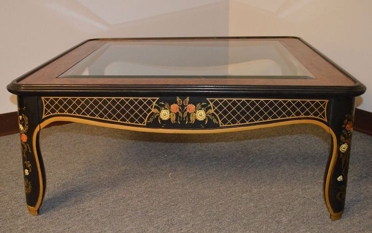 Vintage Drexel Asian Style Glass Top Hand Painted Cocktail Table w/Burl Panels…