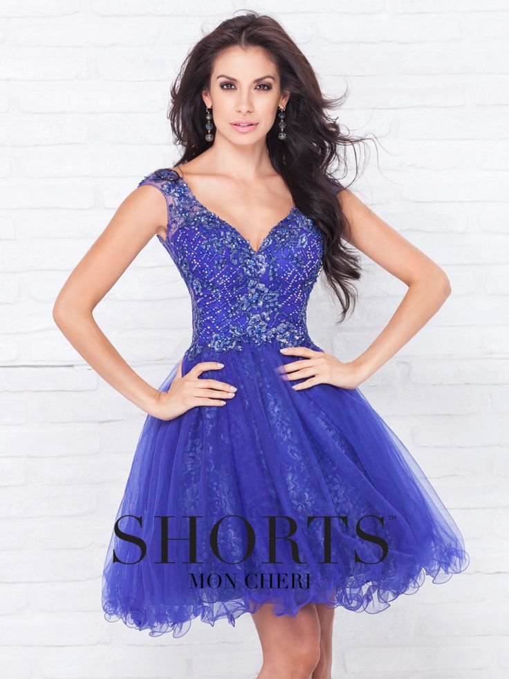 Shorts - TS11581 - Tulle over metallic lace knee-length A-line dress, hand-beaded illusion cap sleeves, V-neck beaded bodice, beaded illusion scooped back bodice, gathered skirt with curled hem.Sizes: 0 – 16Color: Royal Blue