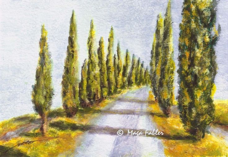 Cypress Road, Tuscany, Italy by Maga Fabler.  Original gouache painting on watercolor paper 13x18 cm (~ 5x7 in.)