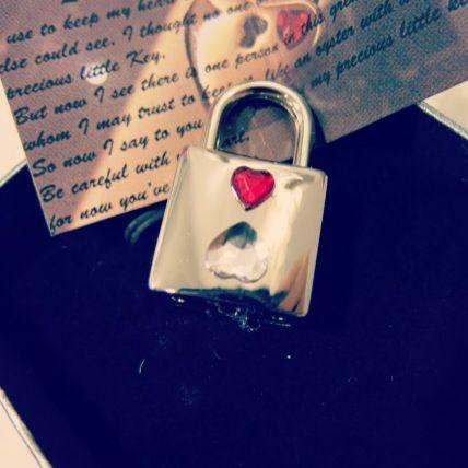 Heart shape crystal lock - https://www.etsy.com/listing/200675647/double-sided-heart-to-heart-gift-set?