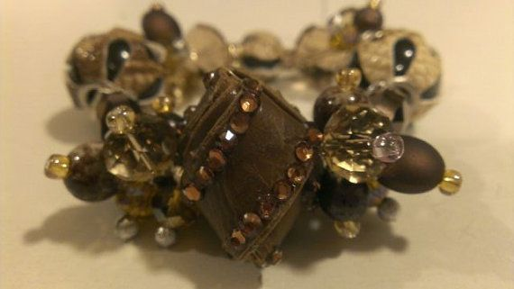 Brown and Leather Mixed Beaded Bracelet by GDsDesigns on Etsy, $25.00