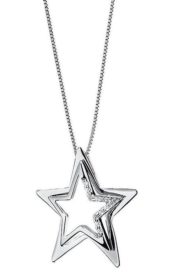 Comete Gioielli Collana con Stella in oro bianco e diamanti GLB 393