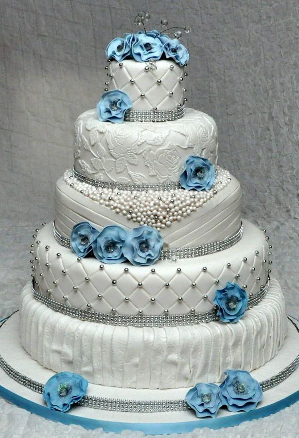 5 tier wedding cake with edible pearls and lace. Decorated ...