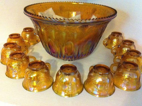 Old Amber Punch Bowl Set