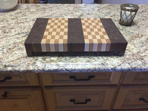 items similar to end grain cutting board chevron pattern with maple black walnut u0026 cherry pewter handles on etsy