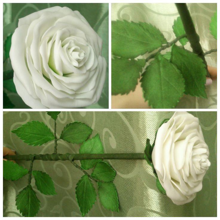 Белая роза из фоамирана