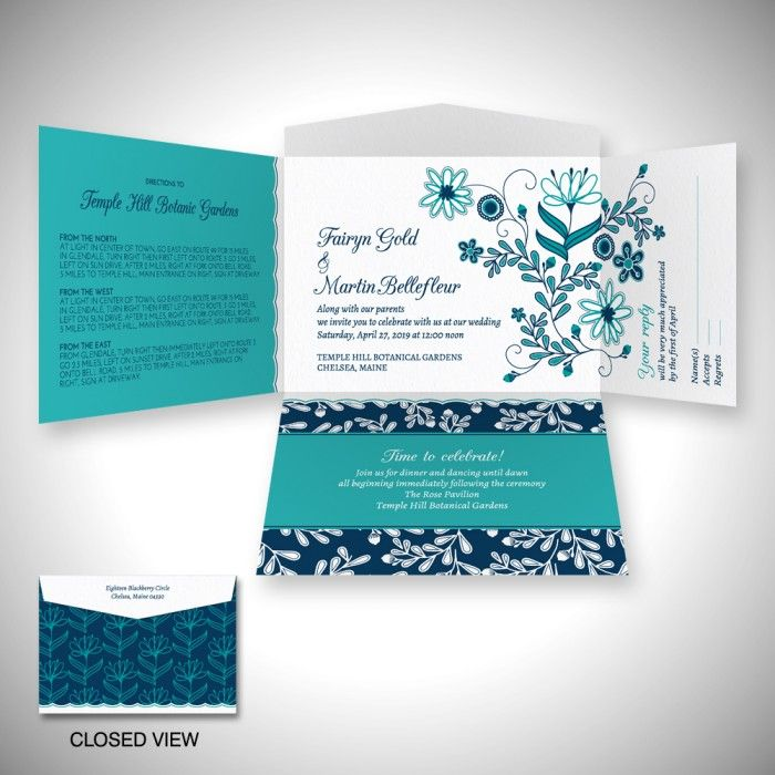 Posy Bouquet Self Mailer Wedding Invitation Einvite A Bright Of Wildflowers In Blues