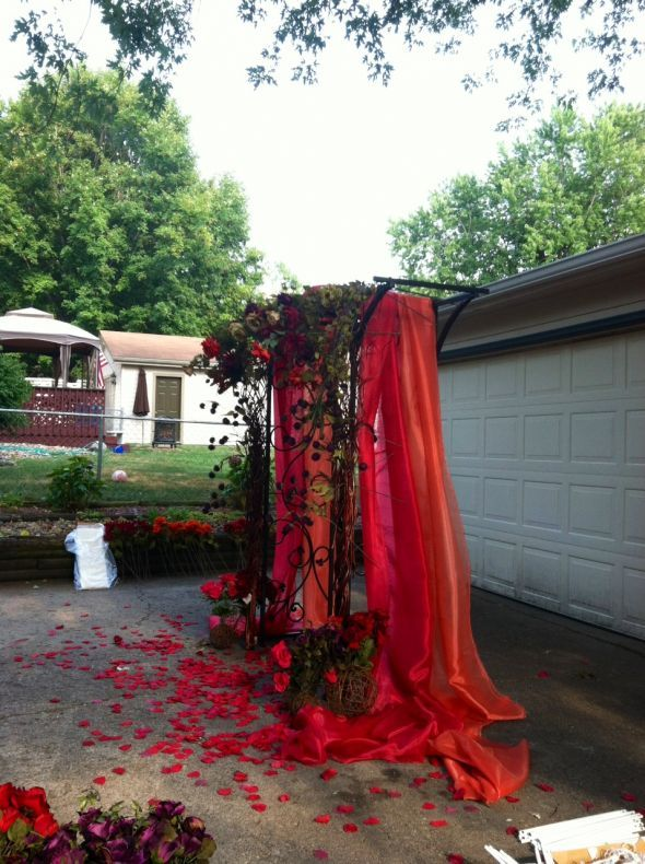 Just finished my wedding arch for my fall outdoor ceremony! :  wedding aisle arbor arch ceremony diy flowers outdoor ceremony purple Arch Side View