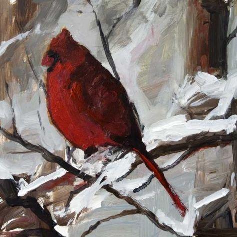 Cardinal Red 6 x 6 Acrylic Winter Bird Painting, painting by artist John K. Harrell