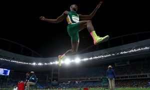 Luvo Manyonga of South Africa in the long jump at Rio 2016