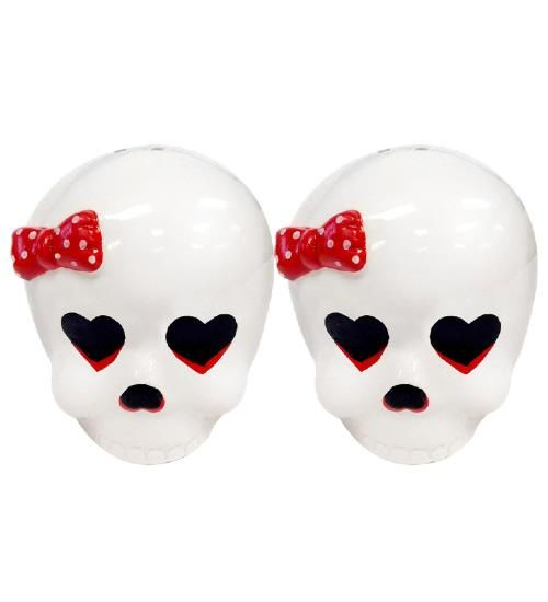 Skull design salt and pepper shakers by Sourpuss A great gift for any rocker out there http://www.badsheepboutique.com/darling-skull-salt--pepper-shakers-277-p.asp