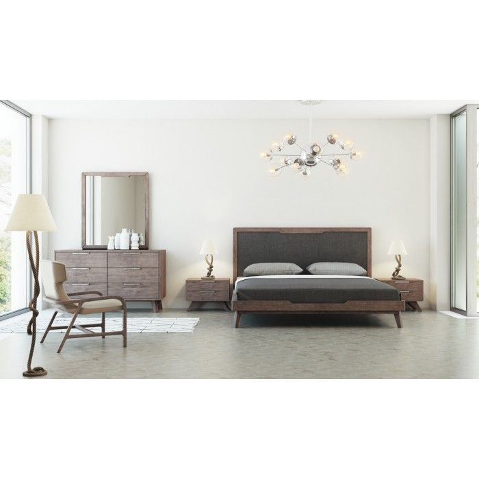 The Nova Domus Soria Modern Grey & Walnut Bedroom Set combines charm and finesse featuring a Walnut veneer finish with wood grains, giving it a touch of mysteriousness. With a near to the ground design, it features a grey fabric headboard and slats for mattress breathability. It includes two 2-drawer nightstands, a 5-drawer chest, and a 6-drawer dresser offering storage for better organization. Stainless steel drawer handles provide accent. Oblique legs give sturdy support to this modern ...