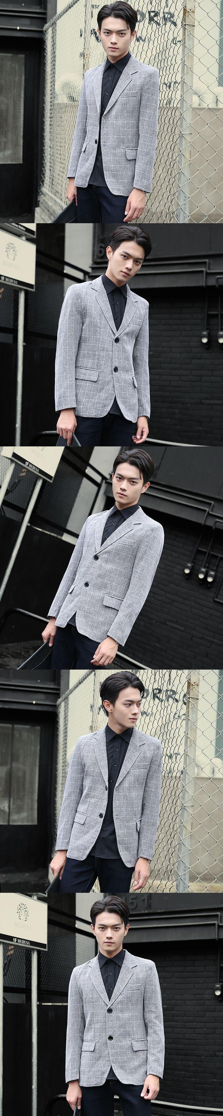 2017 Fall Men's fashion movement Casual Suit Korean Slim Plaid Small Singles West Teens Jacket Tide Sweatshirt Free shipping