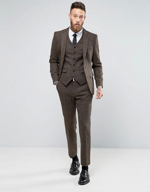 ASOS Slim Suit In Brown Harris Tweed Herringbone 100% Wool