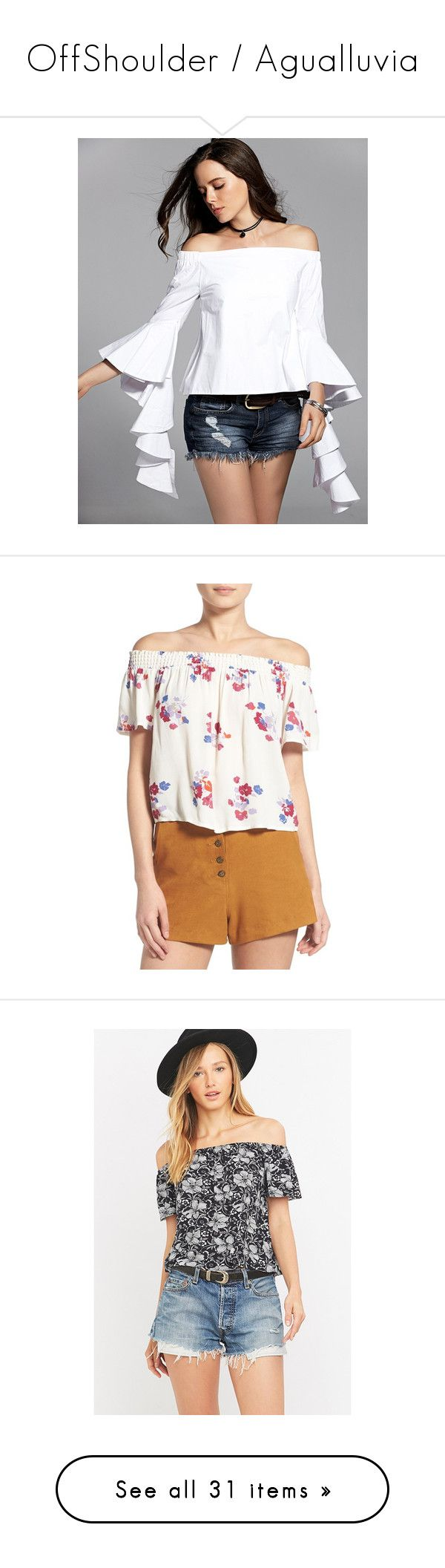 OffShoulder / Agualluvia by urvanity on Polyvore featuring polyvore, women's fashion, clothing, tops, blouses, white off shoulder blouse, off shoulder tops, ruffle blouse, off-the-shoulder ruffle tops, white blouses, multi, flower print tops, beach tops, smock top, floral off the shoulder top, white floral top, black and white floral top, black and white top, off the shoulder tops, short sleeve tops, short sleeve off the shoulder top, fashion tops, viscose tops, red top, faithfull, button…