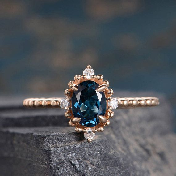 Yellow Gold Engagement Ring Halo Diamond Half Eternity London Blue Topaz Oval Cut Anniversary Promise Ring Women Bridal Solid 14K Simple