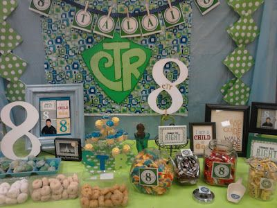 """It's Great to be 8 and CTR (""""chews"""" the Right) candy bar!  Possible theme for baptism day luncheon"""