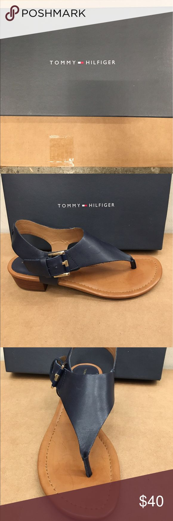 Brand new Tommy Hilfiger sandals w/ 1 inch heel❤ Navy blue leather sandals with a 1 inch heel! Never worn. Tommy Hilfiger Shoes Sandals