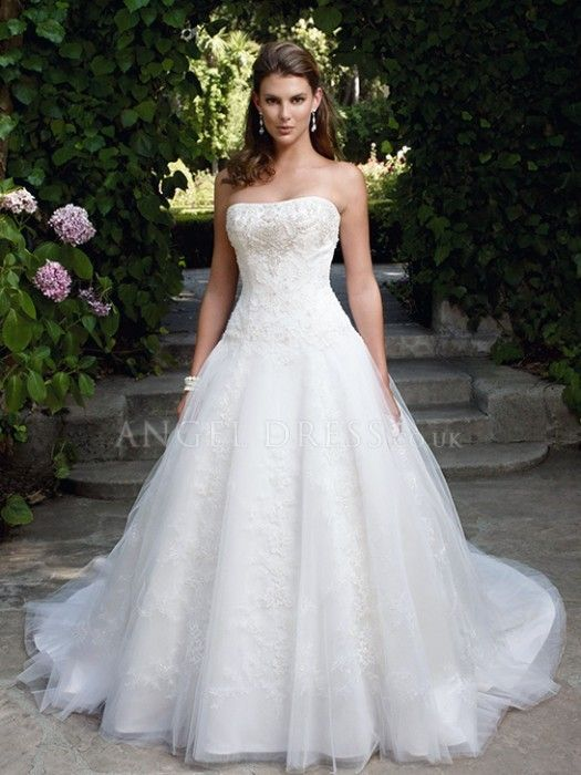 Ball Gown Strapless Tulle Floor Length Wedding Dresses With Embroidery