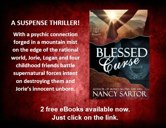 2 copies of Blessed Curse, by Nancy Sartor, a suspense and paranormal thriller, now available. Click HERE. http://www.writersinspiringchange.com/book-giveaways.html