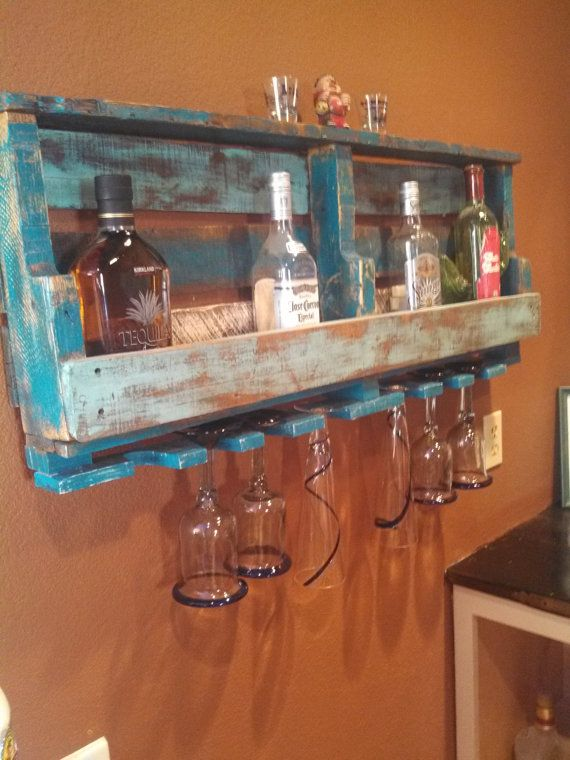 Like the painted version too.  rustic pallet wine/liquor rack by upCycledreCreations on Etsy @Rachel Lubahn YOU could make this!! :)