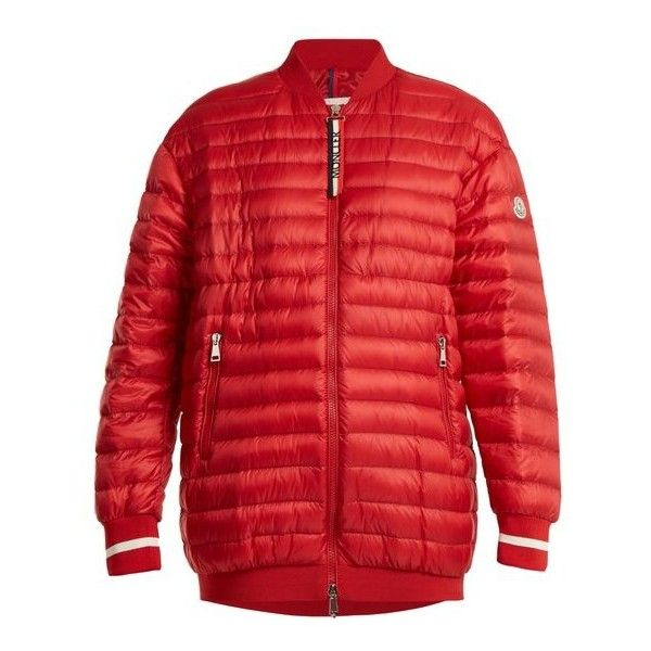 Moncler Charoite quilted down bomber jacket ($1,255) ❤ liked on Polyvore featuring outerwear, jackets, red, bomber style jacket, red bomber jacket, cold weather jackets, red zipper jacket and red quilted jacket