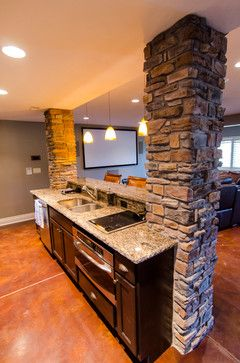 Basement Design Ideas, Pictures, Remodels and Decor - the kitchen part has a lower ceiling . ... similar to ours