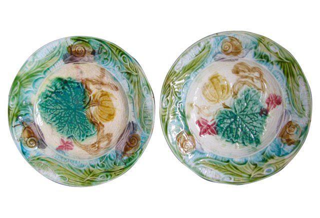 Pair of Majolica Snail Plates, C.1890 | Magical Majolica