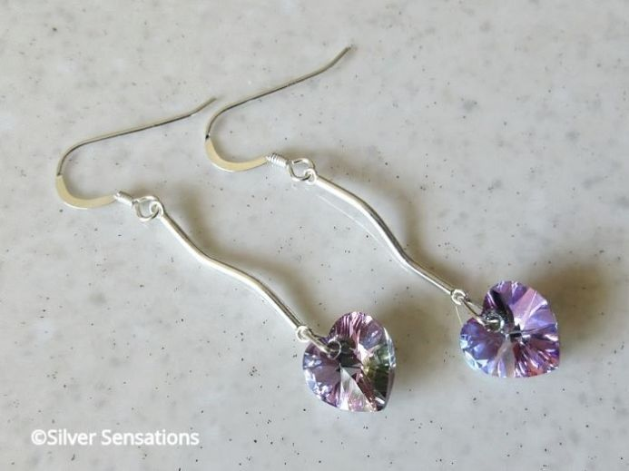 Sparkly Rainbow Purple Swarovski Hearts & Sterling Silver Long Earrings @ProCraftGuild #fashion #shoppingonline @eshopsUK #weddinghour #bridal  https://www.silver-sensations.co.uk/purple-rainbow-heart-earrings-with-solid-sterling-silver-bars--swarovski-crystals-9029-p.asp