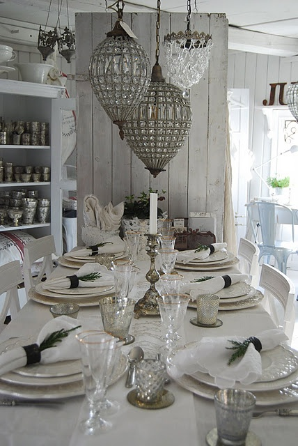 french linens, mercury glass and antique chandeliers  Love all the components!