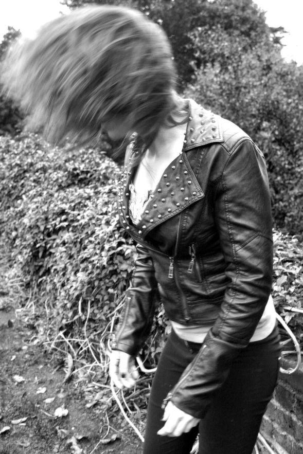 #hair #model #motion #blur #flick #location #canon #leatherjacket #studds #garden #b&w