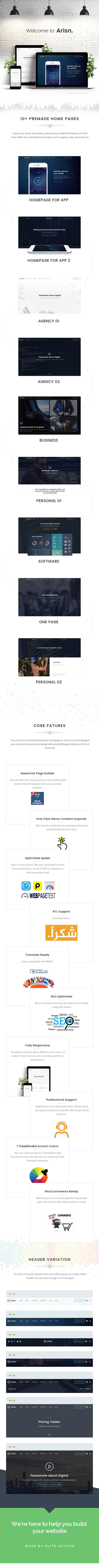Arisn helps you create top quality websites in barely any time. You will have the ability to choose from 7 predefined styles with options to create your own via WordPress Customizer without tou...
