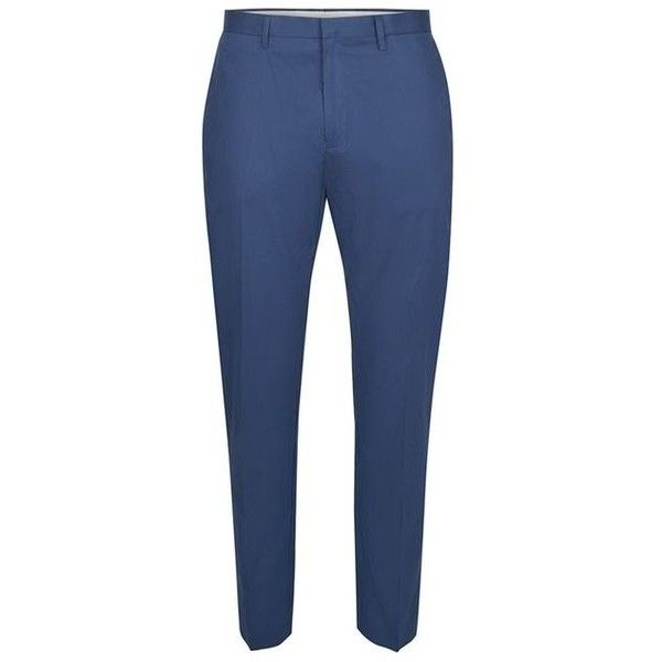 TOPMAN Blue Skinny Smart Trousers ($46) ❤ liked on Polyvore featuring men's fashion, men's clothing, men's pants, men's casual pants, mens blue pants, mens zipper pants, mens cotton pants, mens skinny pants and mens zip off pants