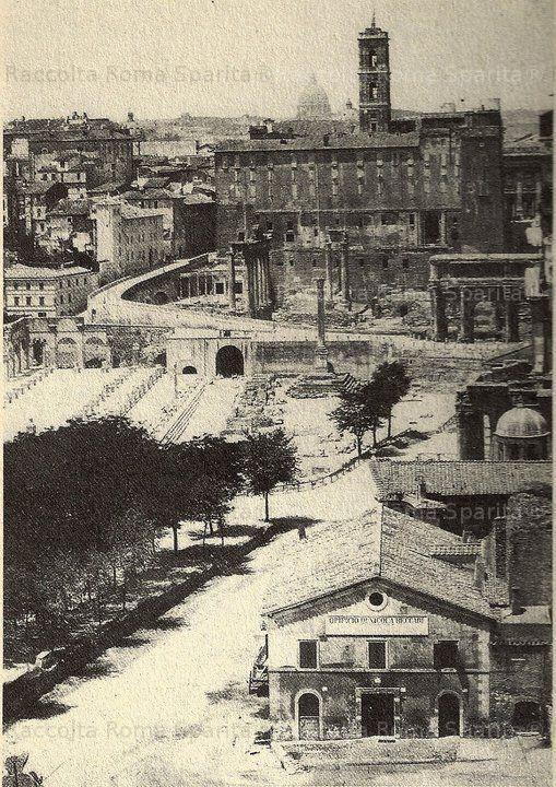 Foro Romano. E' iniziato l'abbattimento del boschetto di olmi che nascondeva i ruderi romani, che ora tornano alla luce per gli scavi iniziati dopo la liberazione della città Anno: 1872